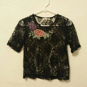 Love More Rue 21 Black Floral Sheer Lace Top Sm